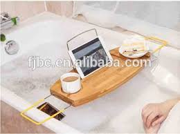 bamboo bathtub caddy bath tray with reading rack wine holder buy