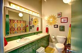 Mid Century Modern Bathroom Vanity Light by Bright Colored Cabinet Bathroom Midcentury With Green Contemporary