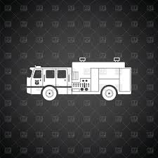 Fire Truck - Service Truck On Black Background, Fire Engine Vector ...