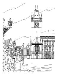 Click To See Printable Version Of Old Town Hall In Prague Coloring Page