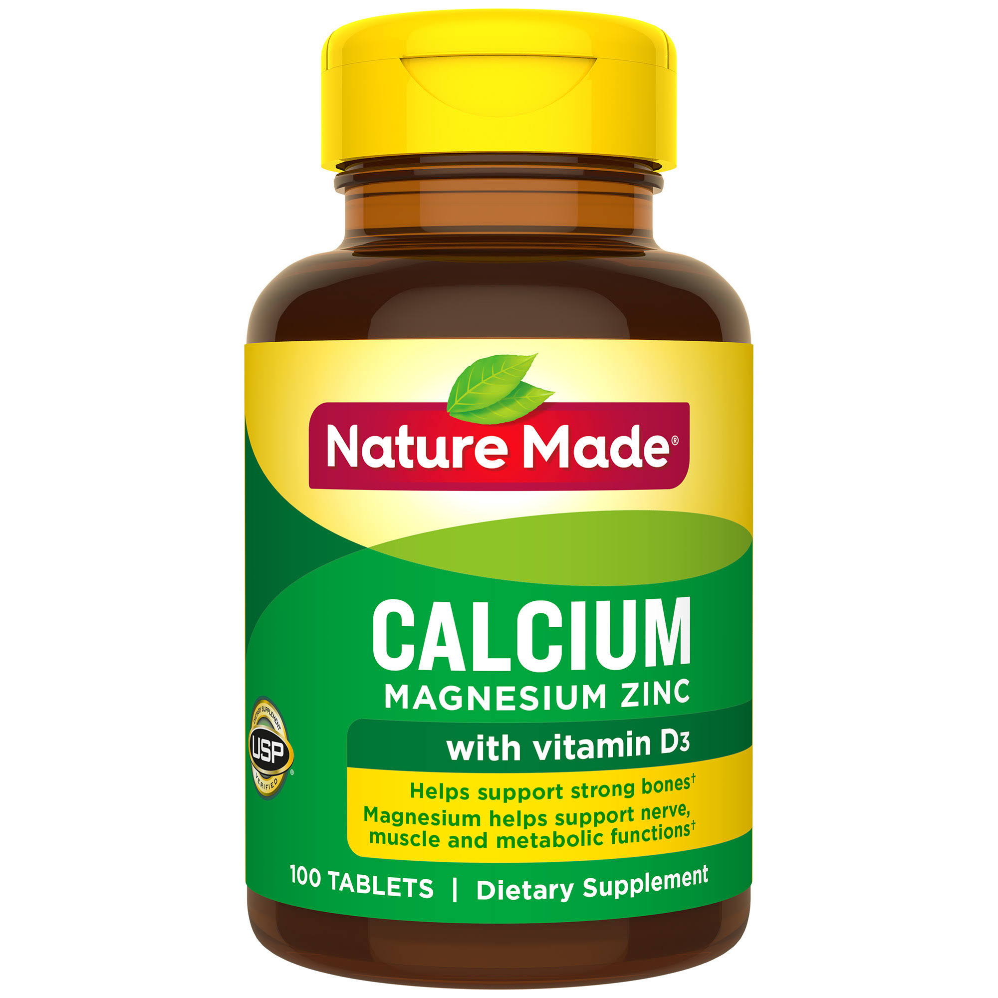 Nature Made Calcium, Magnesium & Zinc - 100 Tablets
