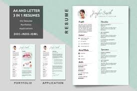 A4 Letter Creative Resume Templates Modern Resume CV