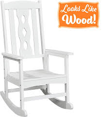 PolyTEAK Curved Outdoor Rocking Chair, Powder White - Looks Like Wood - All  Weather Waterproof Material - Poly Resin Rocker - Porch And Patio Chair -  ... Shop White Acacia Patio Rocking Chair At High Top Chairs Best Outdoor Folding Ideas Plastic Walmart Simple Home The Discount Patio Rocking Lovely Lawn 1103design Porch Resin Wicker Regnizleadercom Fniture Lounger Adirondack Cheap Polyteak Curved Powder Looks Like Wood All Weather Waterproof Material Poly Rocker And Set Tyres2c Chairs Poolterracebarcom Adams Mfg Corp Stackable With Solid Seat At Java 21 Lbs