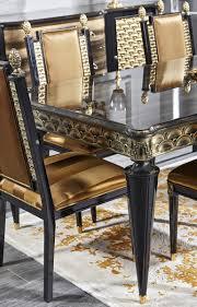 casa padrino luxus barock esszimmer set gold schwarz 1 esstisch und 6 esszimmerstühle esszimmermöbel im barockstil