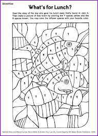 Fill In Picture Of Loaves And Fishes Coloring Activity