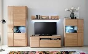 details zu wohnwand anbauwand lowboard wohnzimmer kombivitrine eiche bianco massiv neu
