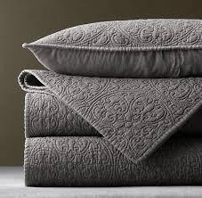 Restoration Hardware Bedding Vintage Washed Belgian Linen Quilt Sham In Graphite Love The Pattern