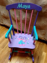 Custom Hand Painted Abby Sesame Street Rocking Chair ... Personalized Rocking Chairs Childrens For Kids Il Tutto Bambino Clara Chair In Grey Moon Natural Wooden Legs Amazoncom Mybambino Girls With Name Only Pretty Painted A Beautiful Baby Gift Patio At Lowescom 10 Best Rocking Chairs The Ipdent Maxie Reviews Joss Main Eames Rar Chair Upholstered Pale Rosecognac Custom Ordered Princess Tu Little Girl Personalised