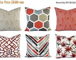 Red Decorative Pillows by Red Gray Pillow Etsy