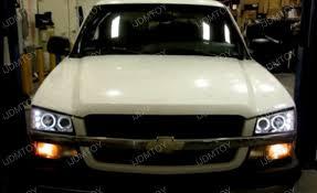 03 06 chevrolet silverado black dual halo projector led headlights