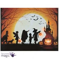Halloween Scene Setters Uk by Led Light Up Canvas Halloween Spooky Scene Picture Wall Home
