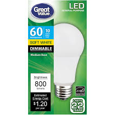 great value led dimmable a19 e26 light bulb 10w 60w equivalent