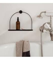wandregal badezimmer schwarz metall holz 26x10x21cm