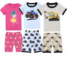 100 Fire Truck Pajamas Cotton Children Short Sleeve Kids Ballet Rockets Unicorn