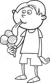 Black And White Cartoon Illustration Of Kid Boy Eating Ice Cream For Coloring Book Vector By Izakowski