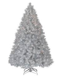 Slim Pre Lit Christmas Trees by Silver Stardust Tinsel Artificial Christmas Tree Treetopia