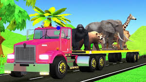 100 Funny Truck Names Learning Animals Name With Animal Transporter For Kids Toy