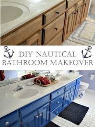 Before And After Of A Nautical Childrens Bathroom Just By Painting Existing Cabinets Accessorizing