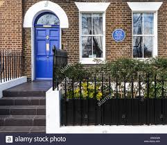 100 Bligh House William Blue Plaque On Terraced Brick House With Blue Door In