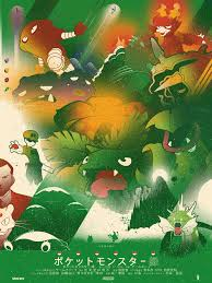 Pokemon Japanese Green Poster Web Red Flat