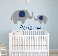 stickers chambre bebe garcon grande taille personnalisée nom éléphants stickers muraux pour