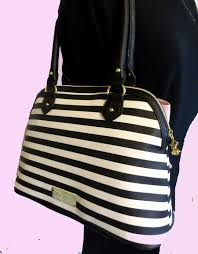 betsey johnson bow dome black white stripe blush pink handbag
