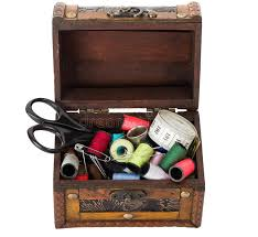 Wooden Box With Sewing Supplies Stock Image Image