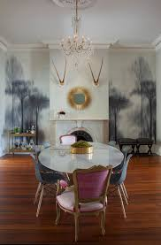 blue dining chairs dining room contemporary with pretty wallpaper