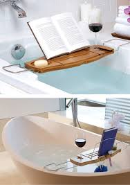 Bamboo Bathtub Caddy With Reading Rack by Bamboo Bathtub Caddy Tray With Adjustable Holder Bathroom Spa