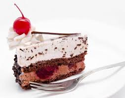 Download Slice Chocolate Cake With Cherry The Top Isolated Stock Image