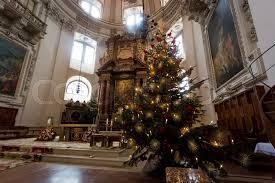 Indoor Shot Of Decorated Christmas Tree At Big Catholic Cathedral Salzburg Austria