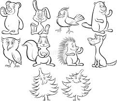 Download Coloring Book Cute Cartoon Forest Animals Stock Vector
