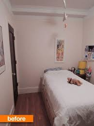 Before After Small City Bedroom To Custom Lofted Bed Desk