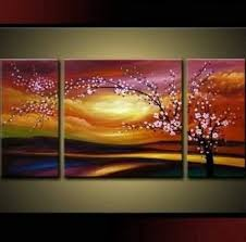 Santin Art Plum Tree Blossom 100 Hand Painted Abstract Wall Sets Painting For Home Decoration Oil 3 Piece Frame
