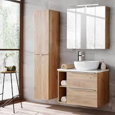 badezimmermöbel set mit led spiegelschrank toskana 56 wotaneiche weiß hochglanz bxhxt ca b h t 135 190 46cm
