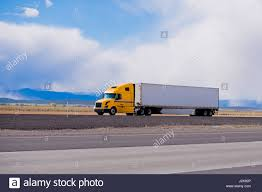 100 Aerodynamic Semi Truck Classic Modern Semi Truck Bright Yellow Color With A White