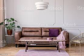 echtes foto braune ledercouch mit violetten kissen und pastell rosa decke im hellen grau wohnzimmer interieur mit monstera deliciosa pflanze