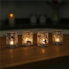 Glass Tealight Candle Holder Deer & Owl