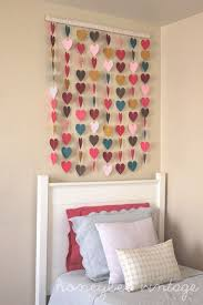 Honeybee Vintage DIY Paper Heart Wall Art How Cute For Valentines Day Put Of Construction But Really A Girls Room Out Fabric