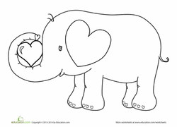 Valentines Day Elephant Coloring Page