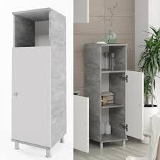 vicco badschrank fynn weiß grau beton midischrank badezimmerschrank badmöbel beistellschrank regal badregal