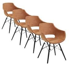 4x stuhl bodahl stuhl jazz mit kunststoffschale in büffelleder cognac bezogen und schwarz lackierten holzbeinen ideal für ihr esszimmer