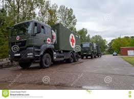 100 German Trucks Rescue Center System On Stands On Plate Editorial