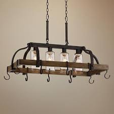 eldrige 36 1 2 wide 4 light bronze pot rack chandelier style