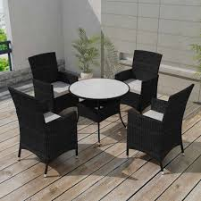 VidaXL Patio Black Wicker Rattan Garden Dining Set Chair Table Glass ... Decor Market Siesta Wicker Side Chairs Black Finish Hk Living Rattan Ding Chair Black Petite Lily Interiors Safavieh Honey Chair Set Of 2 Fox6000a Europa Malaga Steel Ding Pack Of Monte Carlo For 4 Hampton Bay Mix And Match Stackable Outdoor In Home Decators Collection Genie Grey Kubu 2x Cooma Fnitureokay Artiss Pe Bah3927bkx2 Bloomingville Lena Gray Caline Breeze Finnish Design Shop Portside 5pc Chairs 48 Table