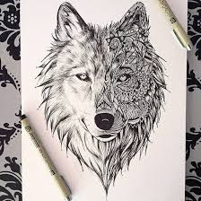 Art Black And White Creative Drawing Painting Pencil Wolf