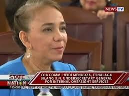 100 Heidi Mendoza COA Comm Itinalaga Bilang UN Undersecretary General For Internal Oversight Services