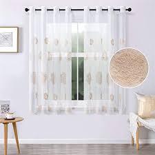 mrtrees voile vorhänge halbtransparent vorhang kurz im blumen stickerei modernen wohnstil sheer gardinen braun 145 140cm h b für wohnzimmer