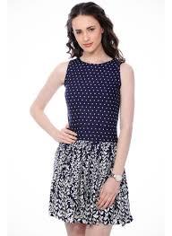 cation blue cotton polka dots dress