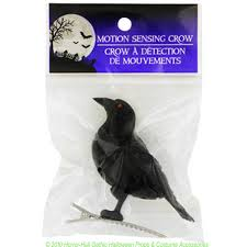 Motion Activated Outdoor Halloween Decorations by Motion Sensor Sensing Mini Black Bird Cawing Crow Realistic Sounds